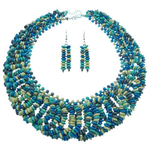 Parure Collier Boucles d'oreilles perles bois BEIGE bleu turquoise été estival