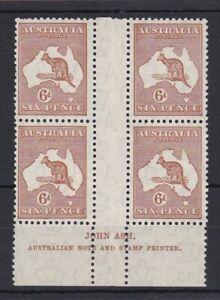 K858-Australia-1932-6d-Chestnut-Kangaroo-C-of-A-wmk-Imprint-block-with-variety
