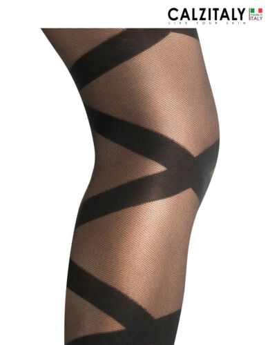 Sheer Shaper Tights with Opaque Stripes Patterned Slimming Tights S M L XL