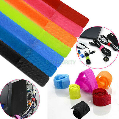 Colors! 7-100Pcs Velcro Cable Cord Tie Strap Wire Rope Organiser Holder Trim PC