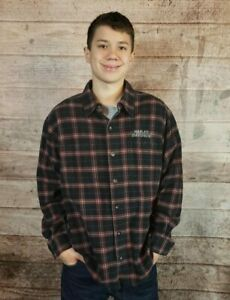 Men-039-s-HARLEY-DAVIDSON-Motorcycles-Flannel-Plaid-Long-Sleeve-Embroidered-Shirt-L
