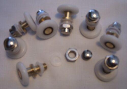 26 25 SHOWER DOOR ROLLERS WHEELS RUNNERS PULLERS 19 28mm Set of 8 27 21 23
