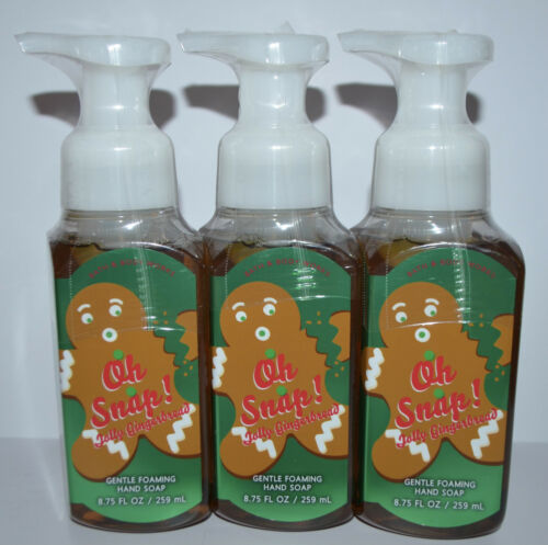 LOT OF 3 BATH BODY WORKS OH SNAP JOLLY GINGERBREAD GENTLE FOAMING HAND SOAP WASH