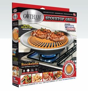 Gotham Steel Nonstick Smokeless Indoor Stove Top Grill BBQ- Healthy ...