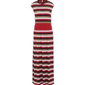 05ff1146bc SONIA RYKIEL Red Striped Knit Lurex Striped Long Dress Size Large ...