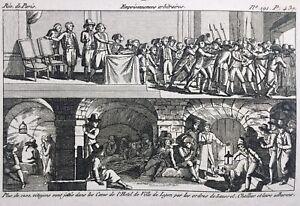 Prison-de-l-Hotel-de-Ville-de-Lyon-1793-Rhone-Rare-Gravure-Revolution-Francaise