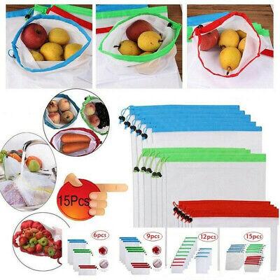 "5pcs 8/""x12/"" Reusable Mesh Produce Bags Fruit Vegetable Toys Storage Shopping USA"