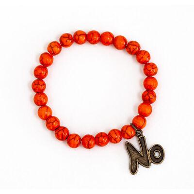 "Beaded Orange Howlite Bracelet With a ""No"" Charm Handmade Jewerly"