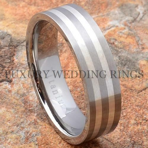 Titanium Wedding Band Men/'s Ring Sterling Silver Inlay Bridal Jewelry Size 6-13