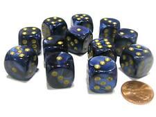 Chx Custom Dice *Six* 16mm Scarab Royal Blue w//Gold Chinese Dragon #1 /& Pips
