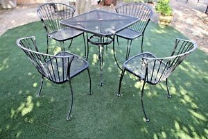 Vintage-Carolina-Forge-Chairs-and-Iron-Table-Patio-Set-MCM-Clam-shell-back