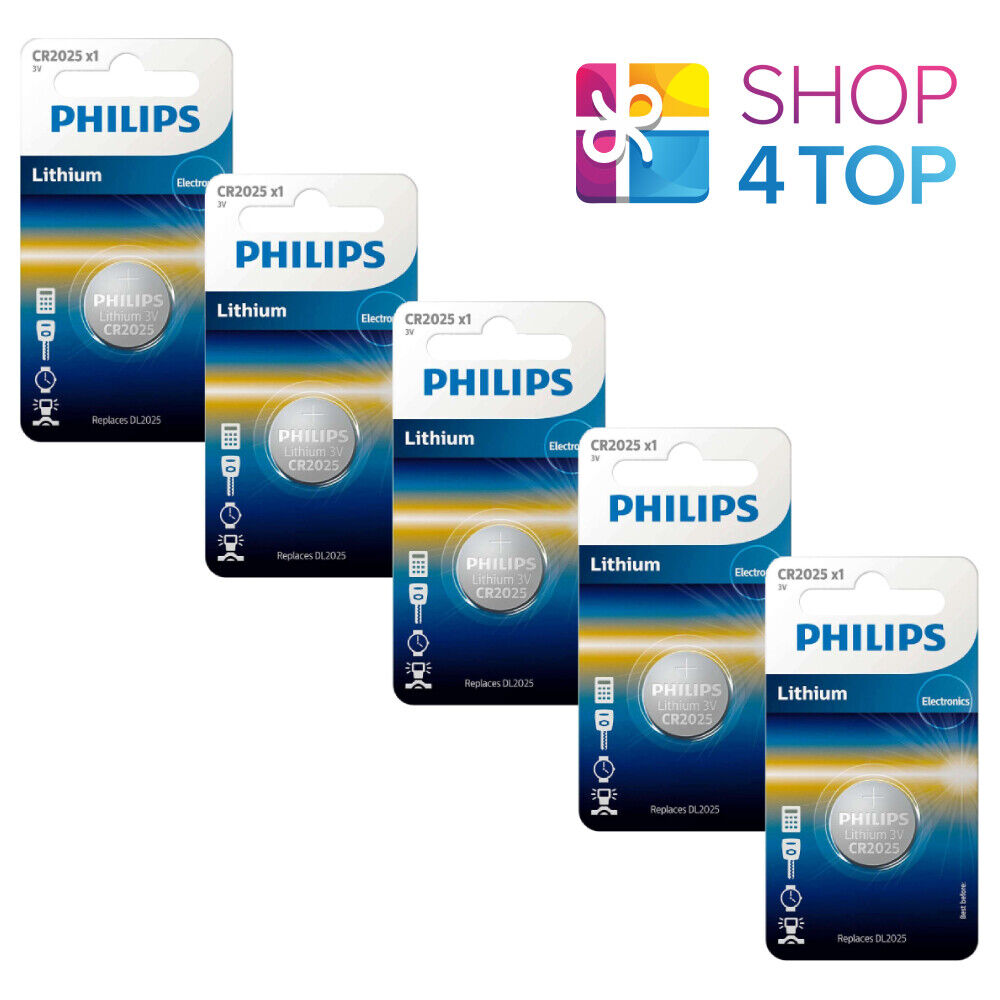 5 Philips cr2025 Lithium Batteries 3v 1bl Button Coin Cell Exp 2028 APRIL NEW