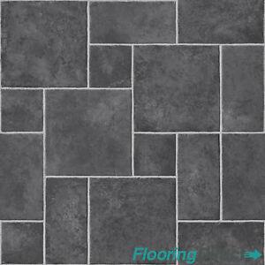 Image Is Loading 4mm Thick Vinyl Flooring Dark Grey Black Random