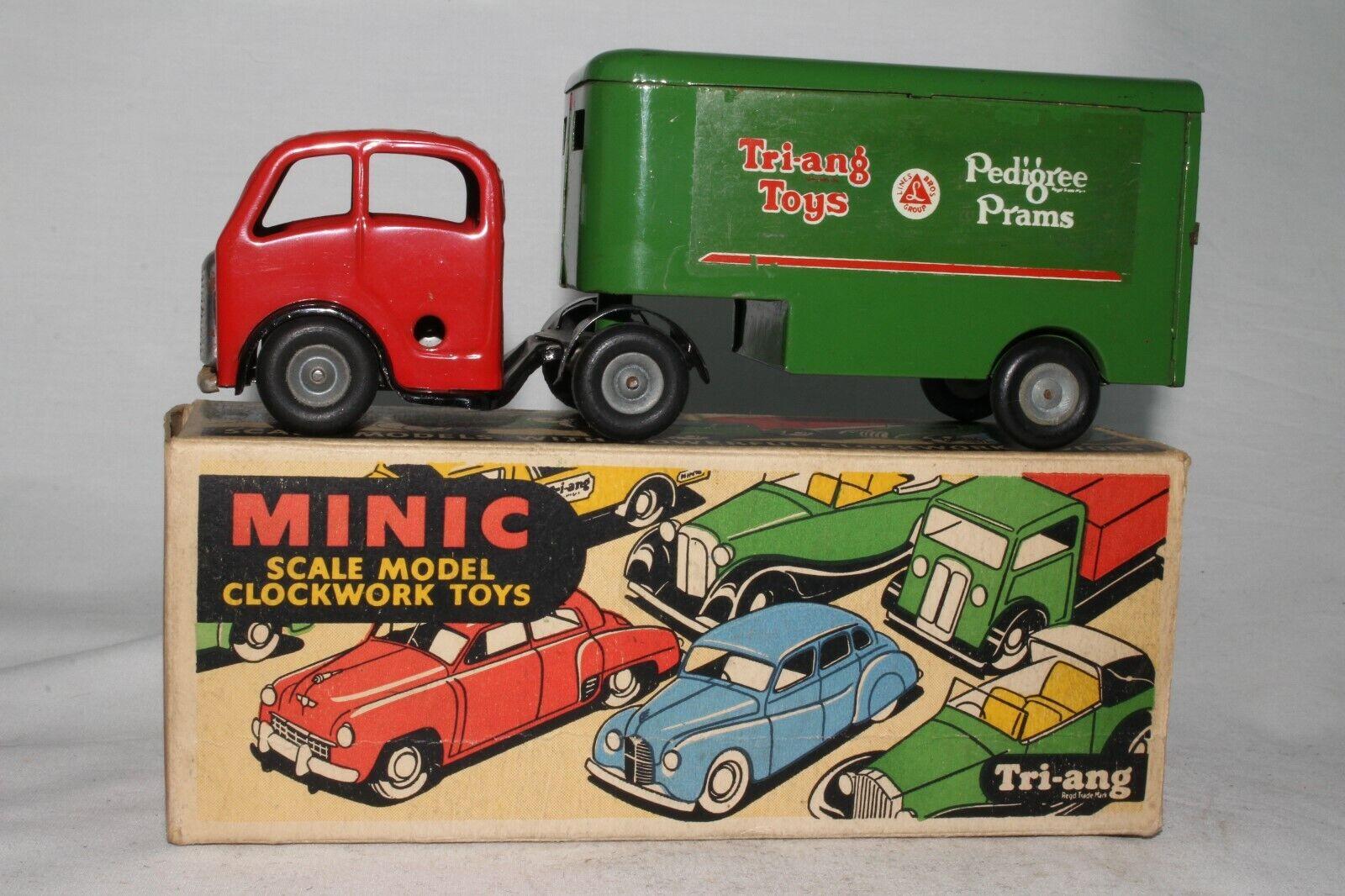 Década de 1950 Triang Minic Lata Cuerda Semi Camión, Pedigree Sillas de paseo con Caja Original