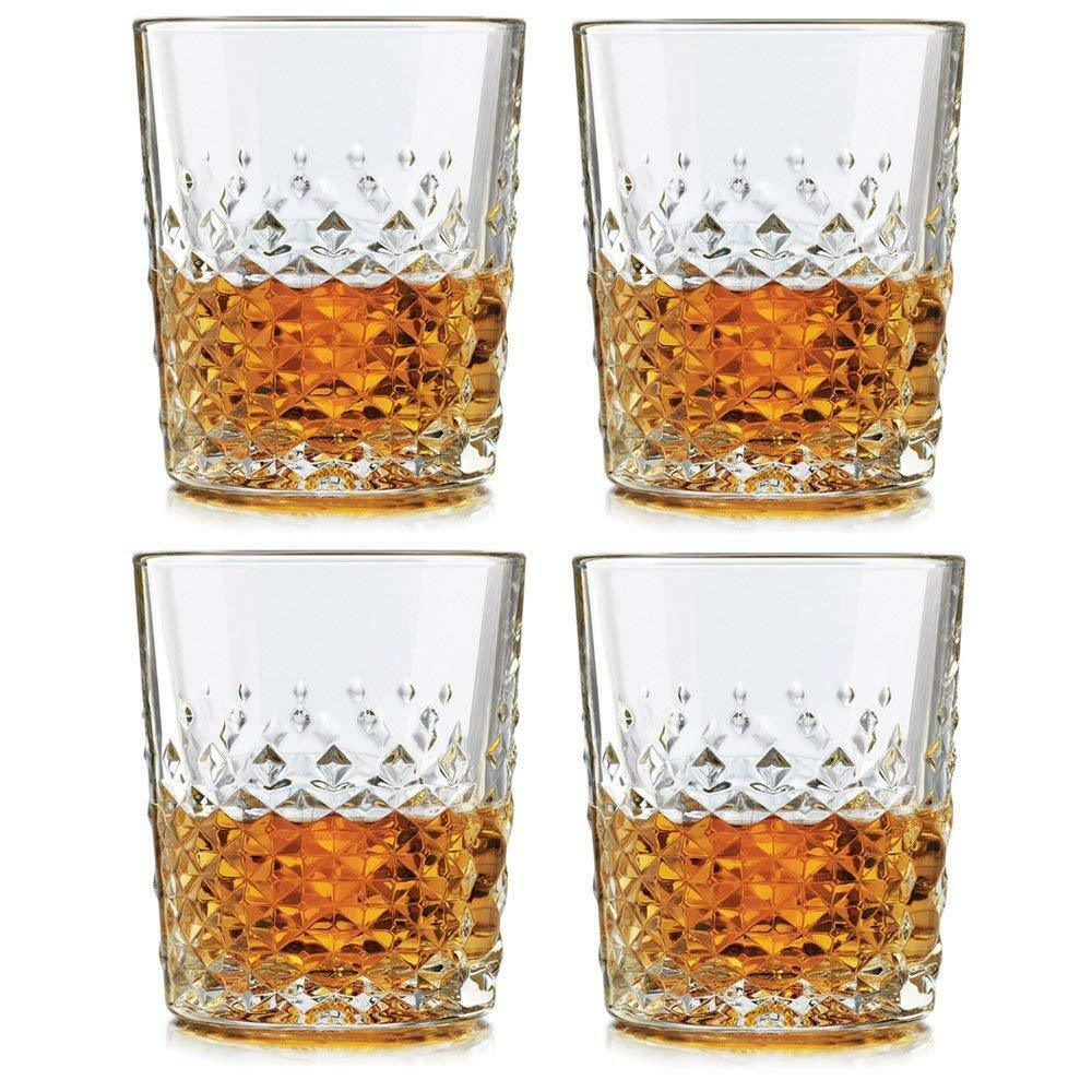 SET OF FOUR (4) LIBBEY DOUBLE OLD-FASHION GLASSES MADE IN USA 12 OZ GLASS NEW