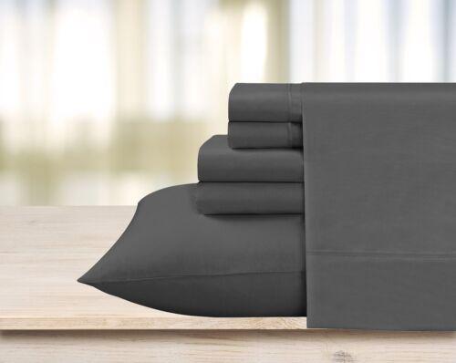 Bed Sheet Set Dark Grey Stripe 800 TC Egyptian Cotton USA Size Multi Drop 6 PCs