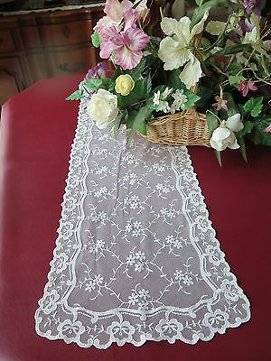 Vtg Antique Schiffli Chemical Net Lace White Floral Runner 14x39