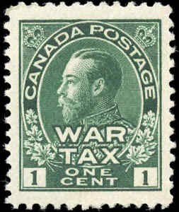 1915-Mint-H-Canada-VF-Scott-MR1-1c-War-Tax-Issue-Stamp