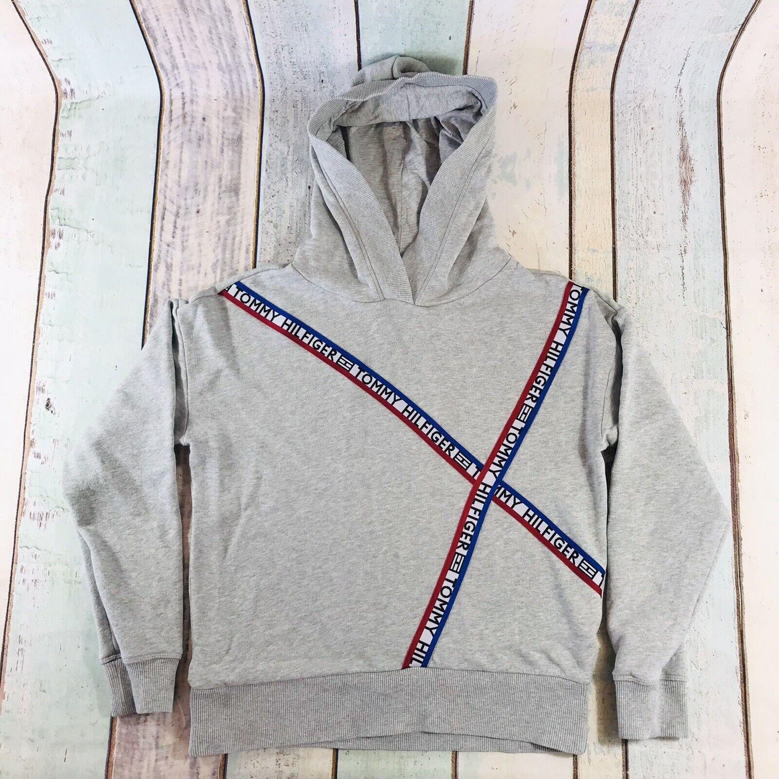 Tommy Hilfiger Womens Hoodie Sweatshirt Jumper Pullover Grey Spellout M Medium