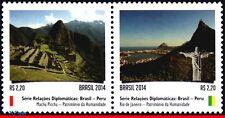 14-17 Brazil 2014 RELATIONSHIP PERU, MACHU PICCHU & RIO DE JANEIRO, MOUNTAIN,MNH