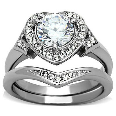 Heart Stainless Steel Ring 2.39 CTW CZ Wedding Engagement Promise 2 pc Set