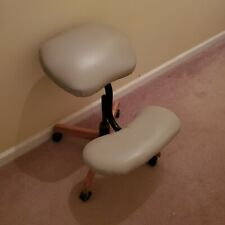 Leather And Wood Desk Chairstool With Knee Pad And Wheels