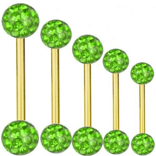 Piercing-vara Titan dorado Barbell 1,2 mm multi bolas de cristal verde6-16 mm