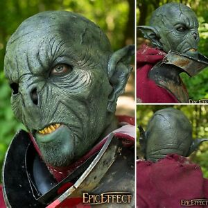 Details about Latex Green Feral Orc Mask - Perfect For LARP Or Costume Use