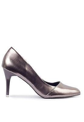 Nena Tribunal Zapatos tacón puntiagudo en Marrón/Plata/Negro Brillante/Plain Negro