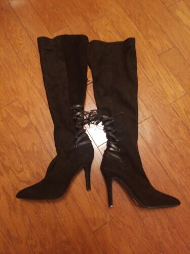 bcbg generation boots suede with  tie in the back