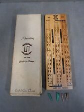 VINTAGE PACIFIC GAME ONE TIME AROUND CRIBBAGE TRACK TWO LANE WOODEN BOARD