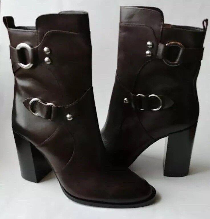 Zara Genuine Brown Leather Zipper Block Heel Boots With Buckle Sz 9 40