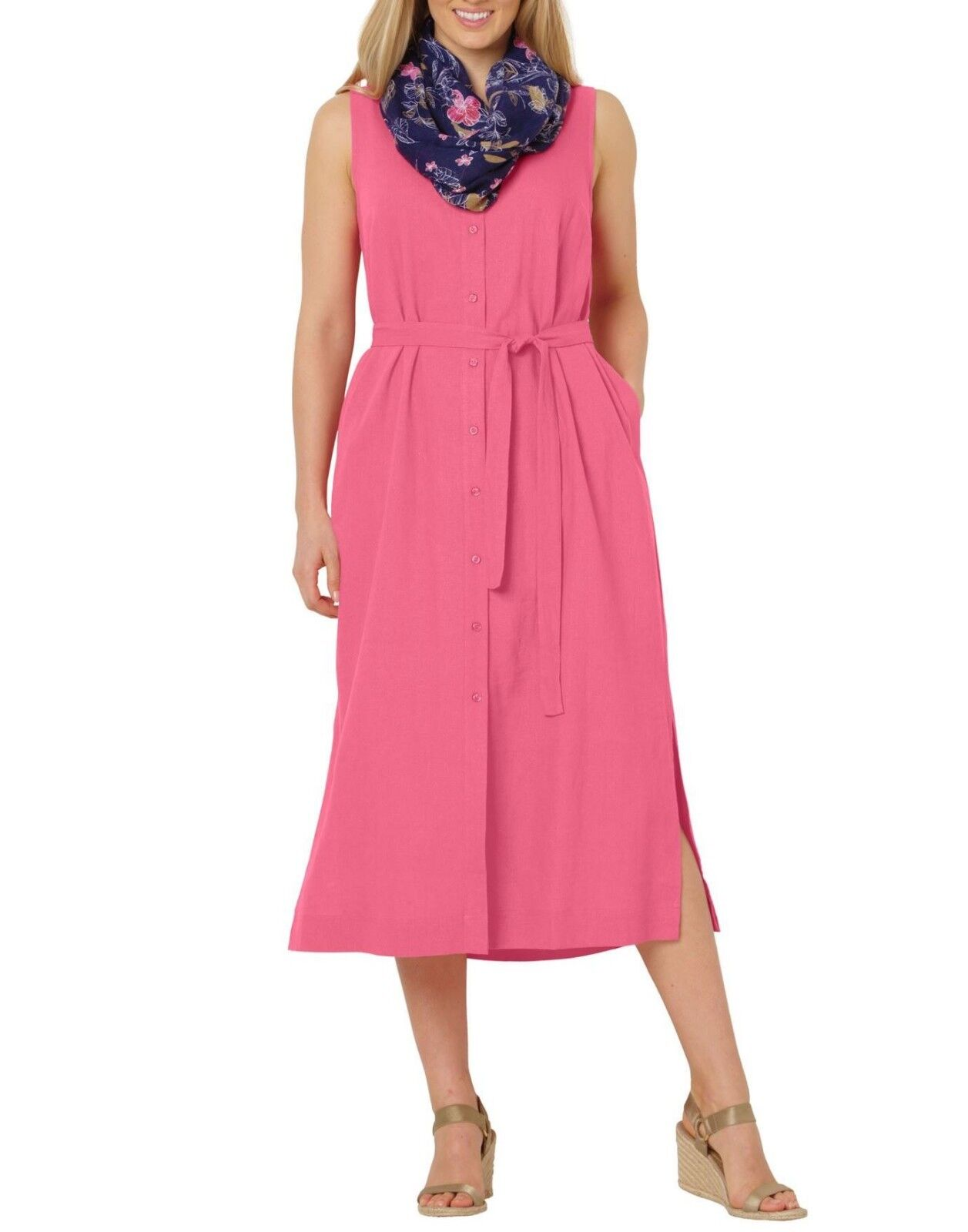 Woman Within Plus Size Bright Pink Sleeveless Button-Front Linen-Blend Dress 24W