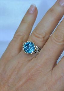 Konstantino-Blue-Topaz-Ring-Size-9-Faceted-Sterling-Silver-18K-Yellow-Gold-New