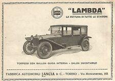 W9169 Lancia LAMBDA Torpedo - Pubblicità del 1923 - Vintage advertising