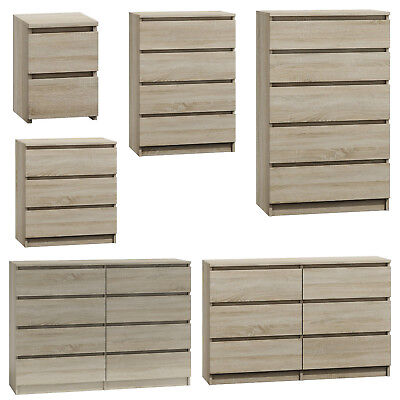Ikea Style Modern Somona Oak 3 Drawer Chest Of Drawers Easy Assembly 70cm Wide