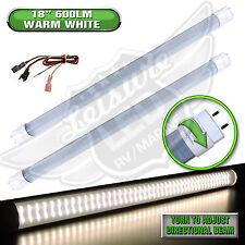 "2x LED T8 Tube Replacement Light 18"" 600 LUMEN Autos 8-30v 12v Warm White"