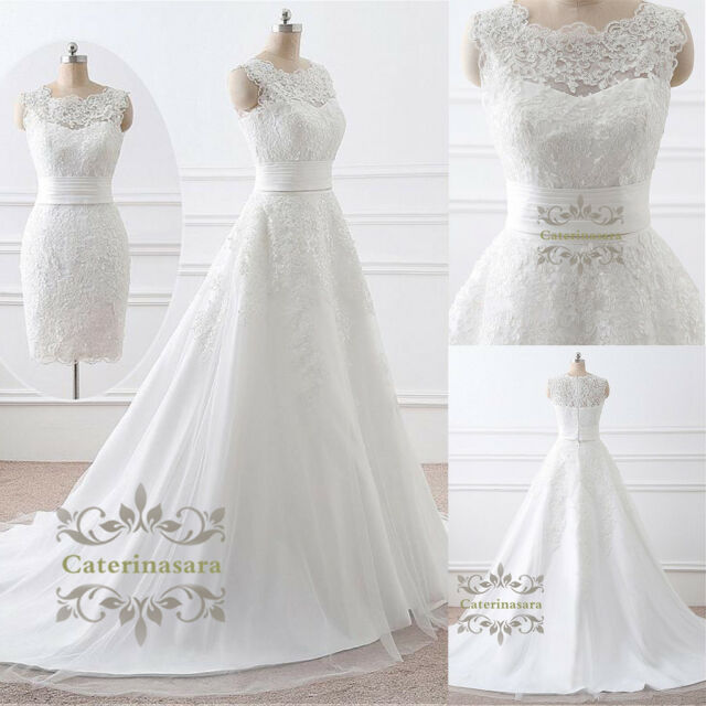 f820d32dd19 Tulle Scoop 2 in 1 Wedding Dress Lace Removable Detachable Skirt Bridal  Gown for sale online