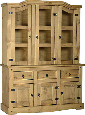 CORONA MEXICAN PINE BUFFET HUTCH, GLASS DOOR DISPLAY UNIT FREE NEXT DAY DELIVERY