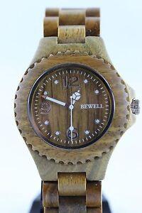 Bewell-Holzuhr-Damenuhr-Herrenuhr-Sandelholz-gruen-41mm-Armbanduhr-Top-Geschenk