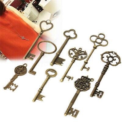 9x Large Skeleton Keys Antique Bronze Vintage Old Look Wedding Decor Pendant $