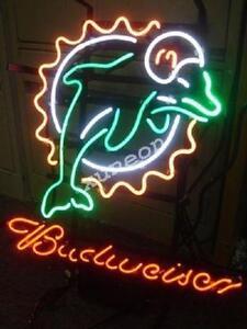 19x15 Rare Budweiser Bud Light Beer Bar Miami Dolphins