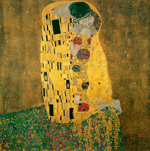 The-Kiss-by-Gustav-Klimt-Handmade-Oil-Painting-Reproduction-on-Canvas-30-034-x-30-034
