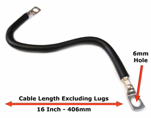 "16/"" 406mm Car Battery Black Earth Earthing Negative Lead Cable Wire Strap M6"