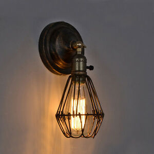 vintage industrial light fixture freebulb rustic wire cage hanging bar wall lamp ebay. Black Bedroom Furniture Sets. Home Design Ideas