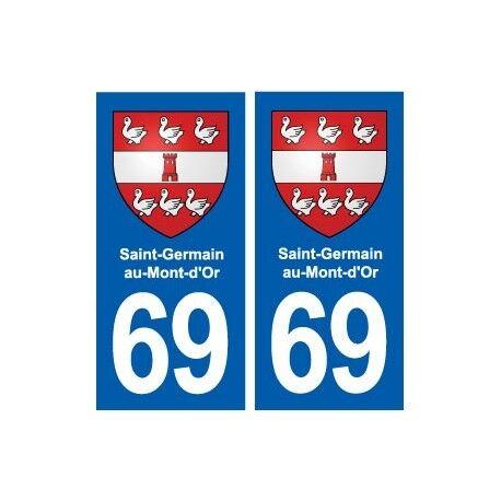 69 Saint-Germain-au-Mont-d'Or blason autocollant plaque stickers ville arrondis
