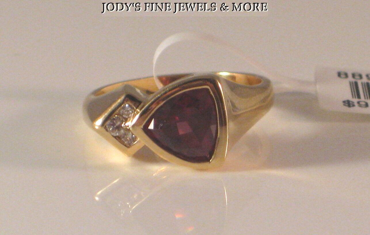 1e6b26d42c4c4 YELLOW 14K ESTATE MAGNIFICENT gold RING 6 Size DIAMOND & GARNET PINK ...