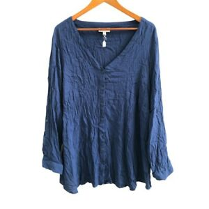 Autograph-Women-039-s-Tunic-Top-Size-24-Dark-Blue-Roll-Up-Long-Sleeve-Front-Button
