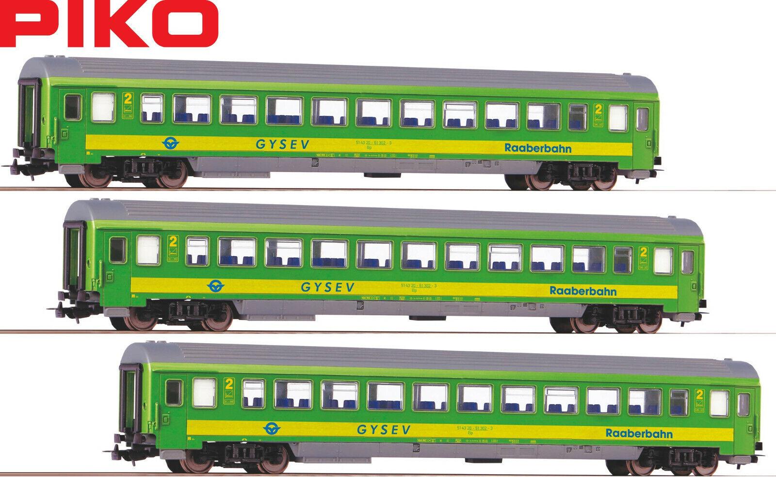 Piko h0 58677-s a los turismos 2. clase de GySEV (3 unidades) - nuevo + embalaje original
