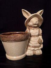 New Brown Ceramic Easter Bunny Rabbit Flower Pot Planter